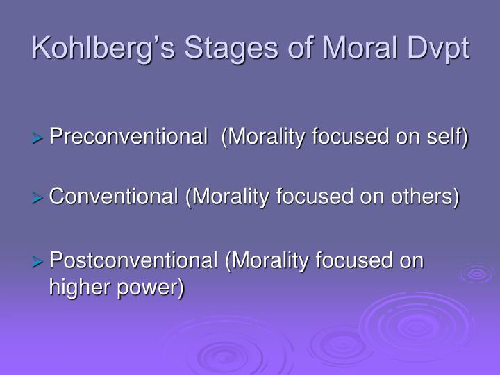 Kohlberg's Stages of Moral Dvpt