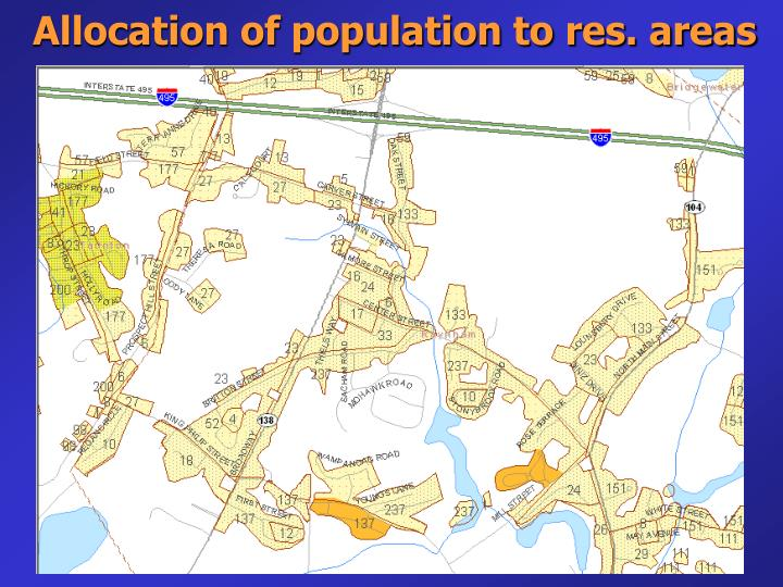 Allocation of population to res. areas