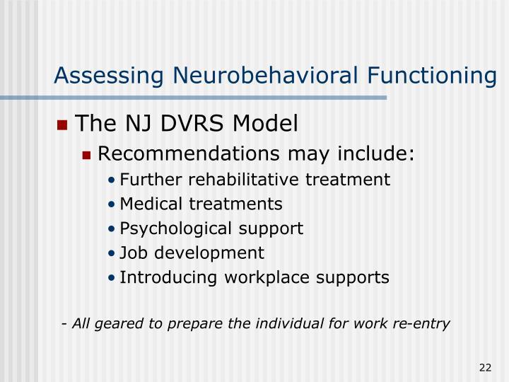 Assessing Neurobehavioral Functioning