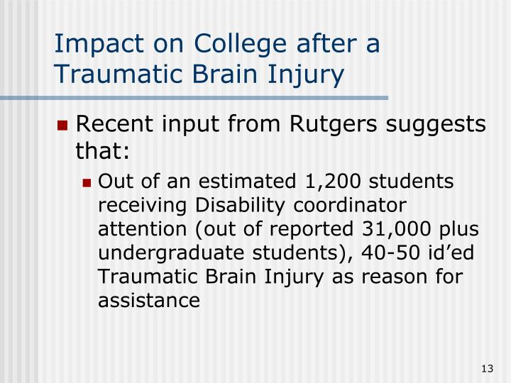 Impact on College after a Traumatic Brain Injury