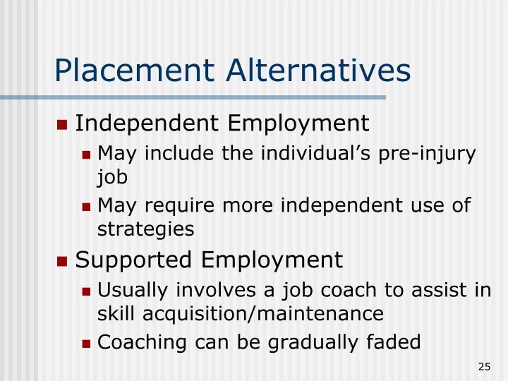 Placement Alternatives