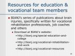 resources for education vocational team members