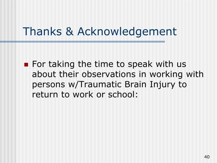 Thanks & Acknowledgement