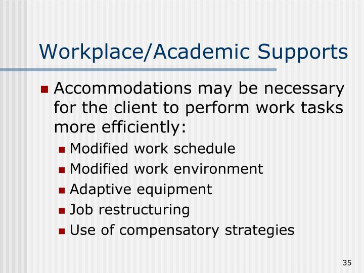 Workplace/Academic Supports