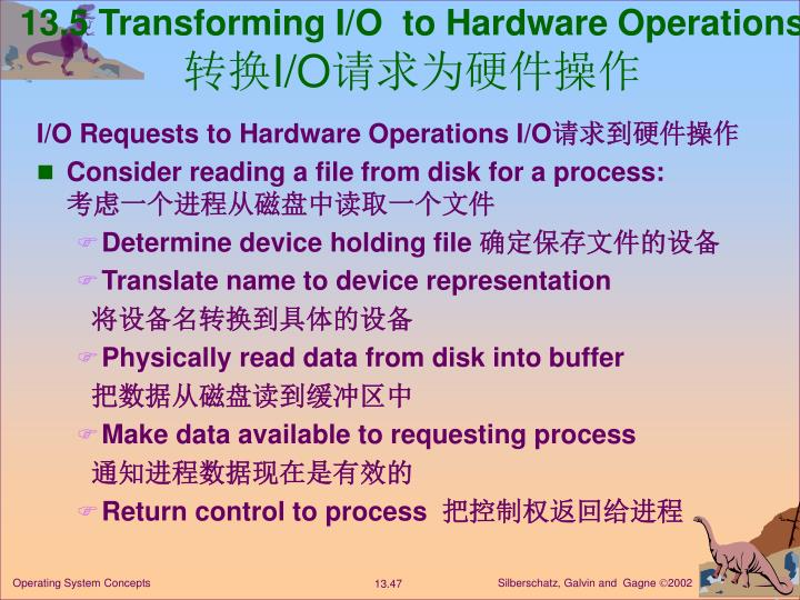 13.5 Transforming I/O  to Hardware Operations