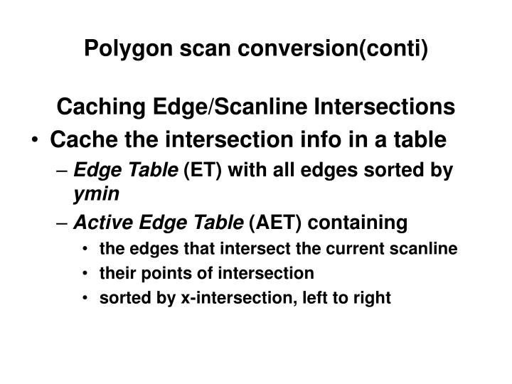 Polygon scan conversion(conti)