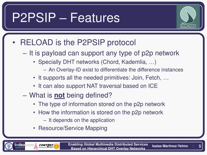 P2PSIP – Features