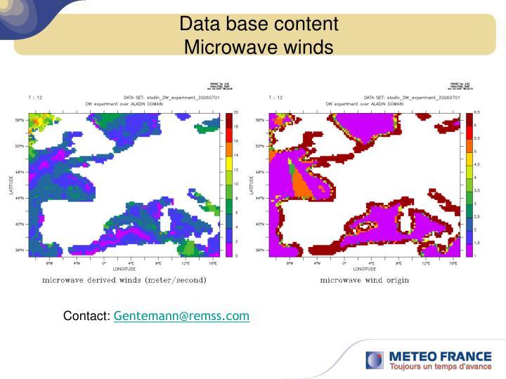 Data base content