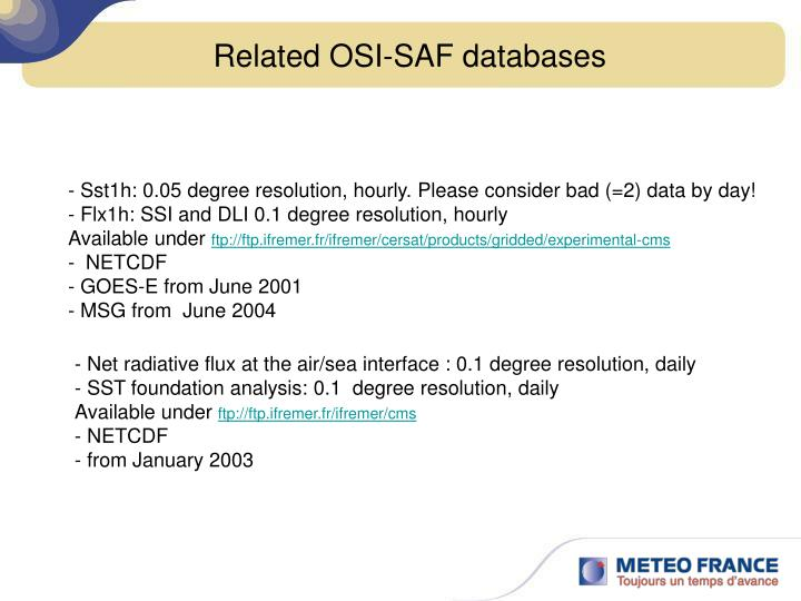 Related OSI-SAF databases