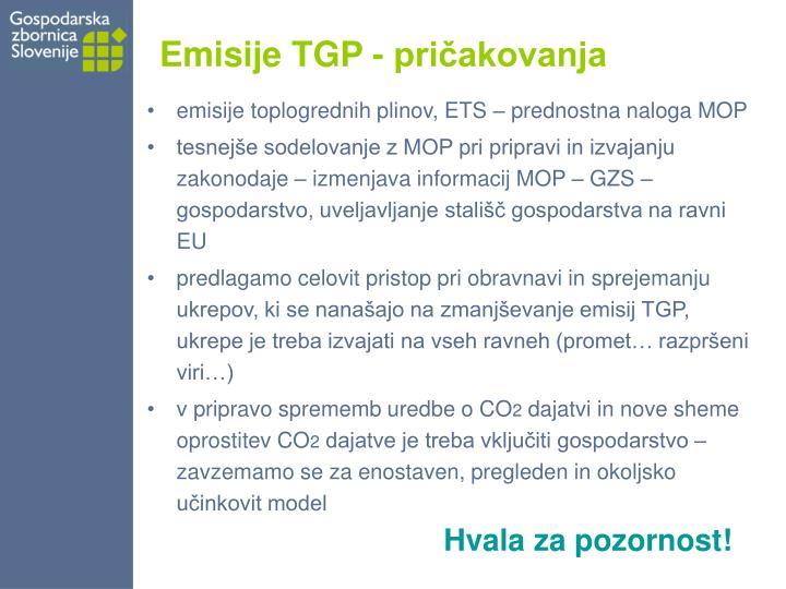 Emisije TGP - pričakovanja