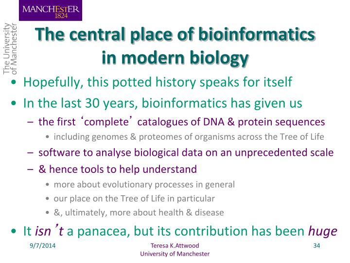 The central place of bioinformatics in modern biology