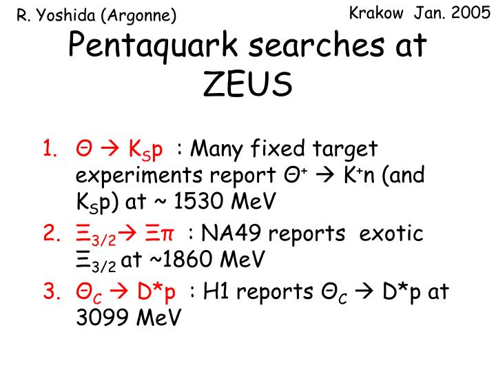 Pentaquark searches at zeus