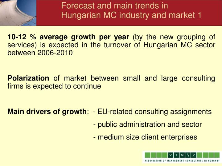 Forecast and main trends in Hungarian MC industry and market 1