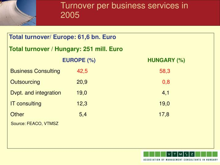 Turnover per business services in 2005