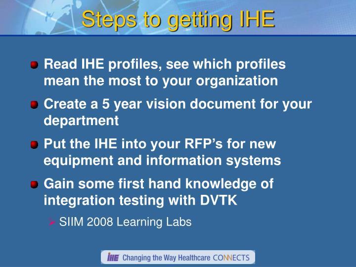 Steps to getting IHE