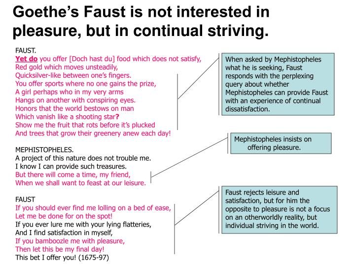 Goethe's Faust is not interested in pleasure, but in continual striving.