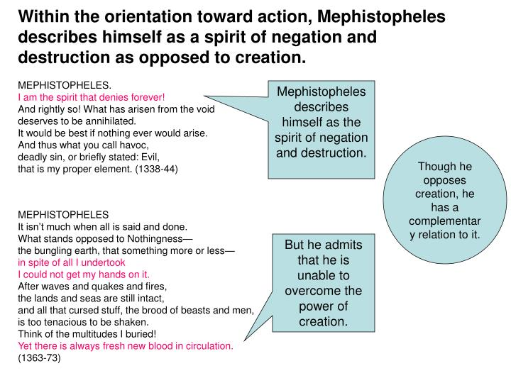 Within the orientation toward action, Mephistopheles describes himself as a spirit of negation and destruction as opposed to creation.