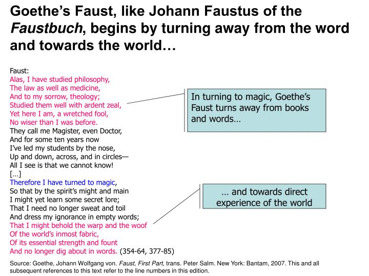 Goethe's Faust, like Johann Faustus of the