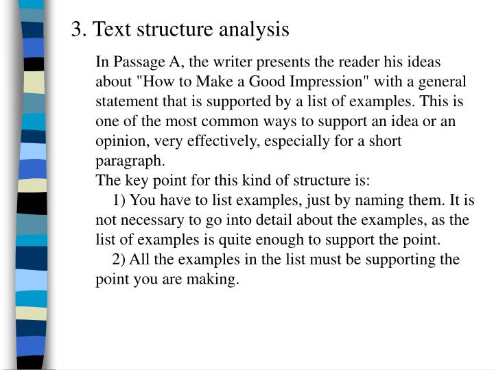 3. Text structure analysis