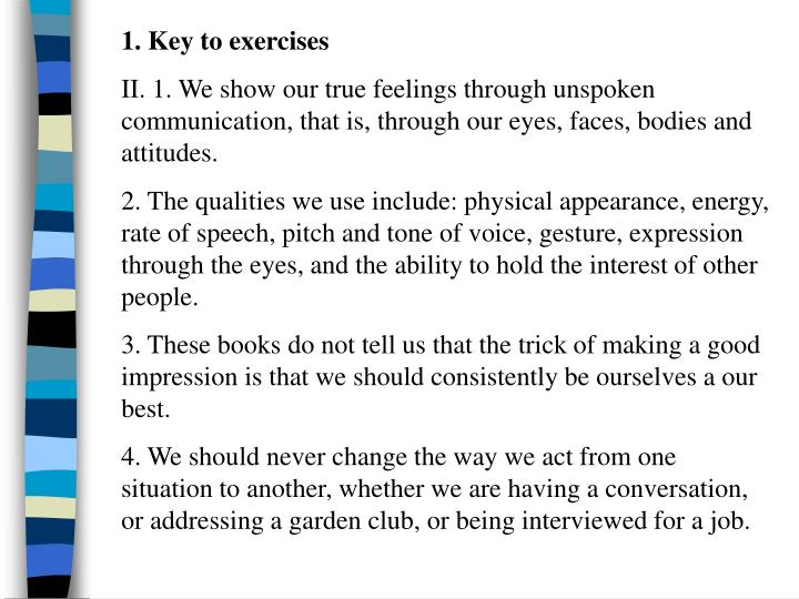 1. Key to exercises