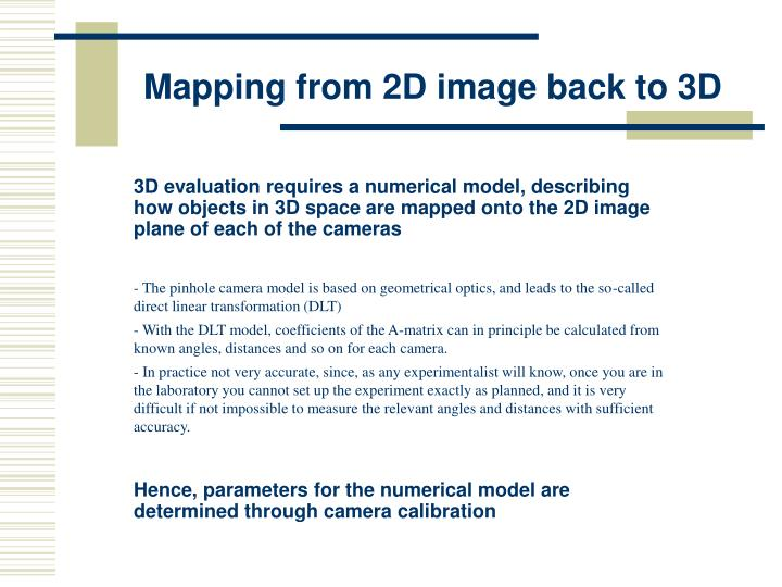 Mapping from 2D image back to 3D