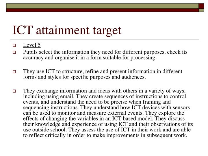 ICT attainment target