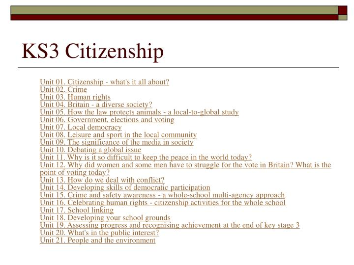 KS3 Citizenship