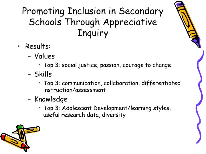 Promoting Inclusion in Secondary Schools Through Appreciative Inquiry