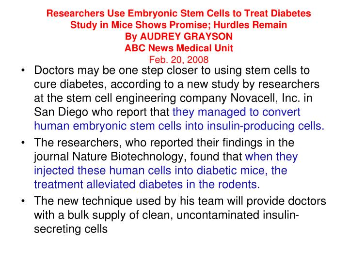 Researchers Use Embryonic Stem Cells to Treat Diabetes