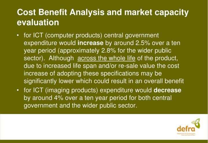 Cost Benefit Analysis and market capacity evaluation