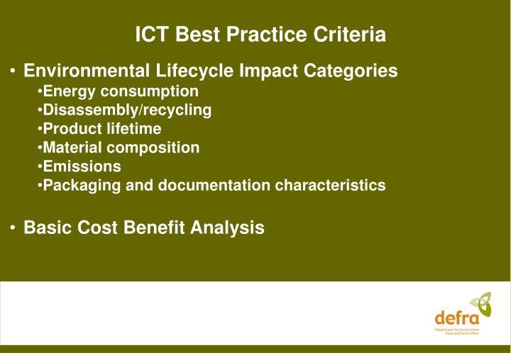 ICT Best Practice Criteria