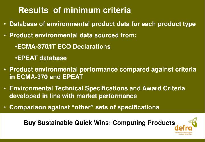 Results  of minimum criteria