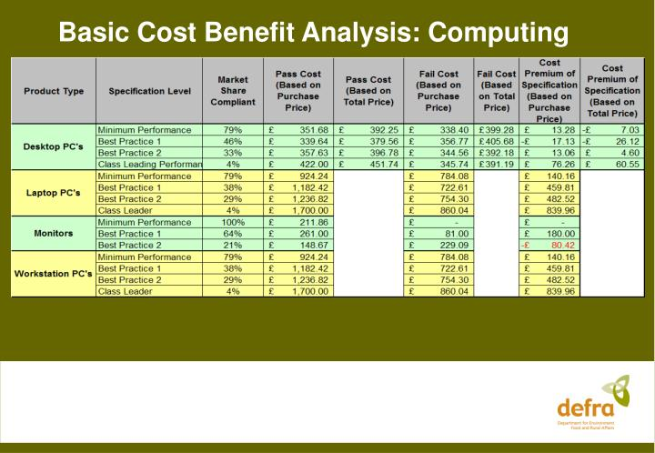 Basic Cost Benefit Analysis: Computing