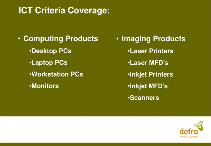 ICT Criteria Coverage: