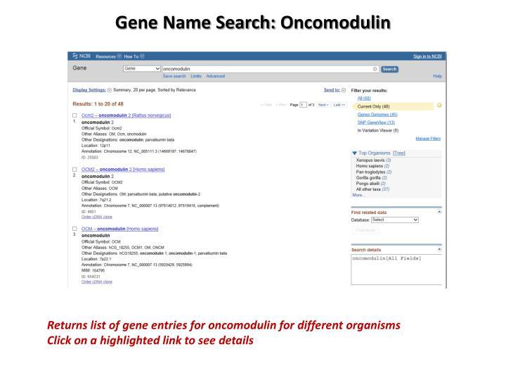 Gene Name Search: