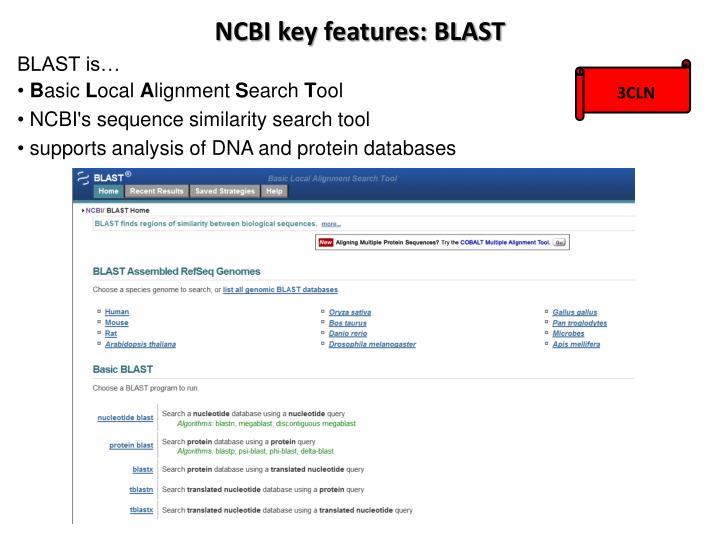 NCBI key features: BLAST