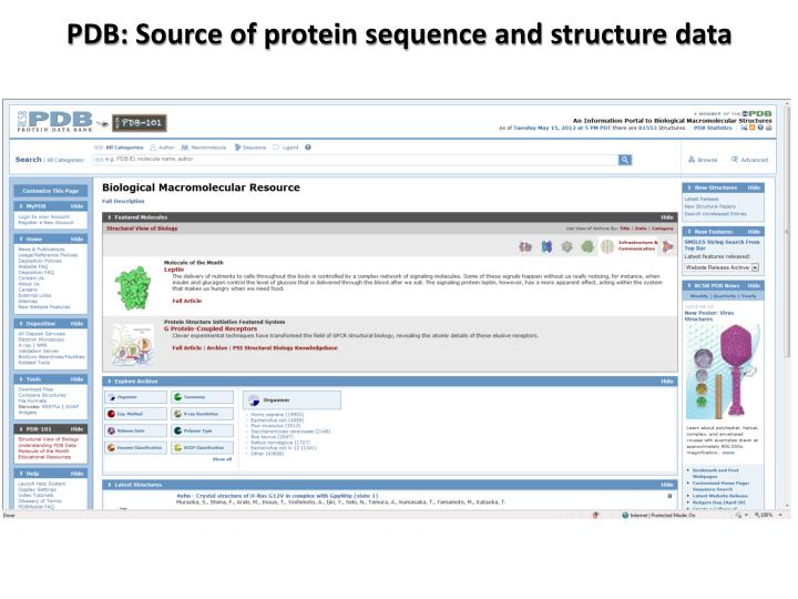 PDB: Source of protein sequence and structure data