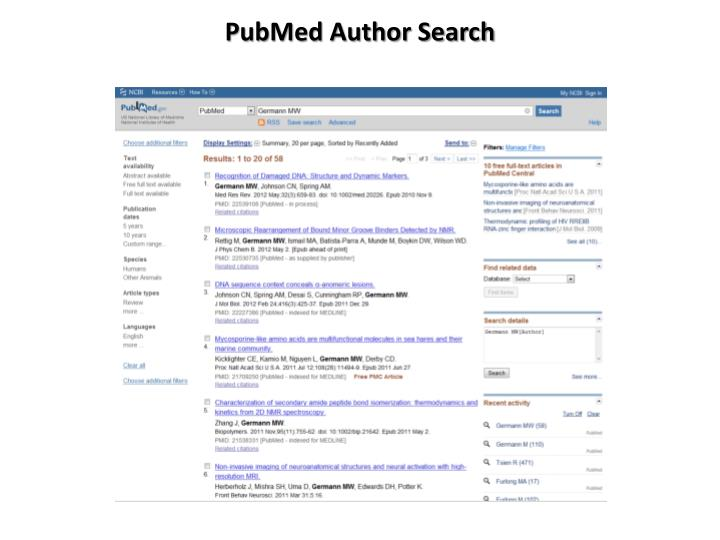 PubMed Author Search