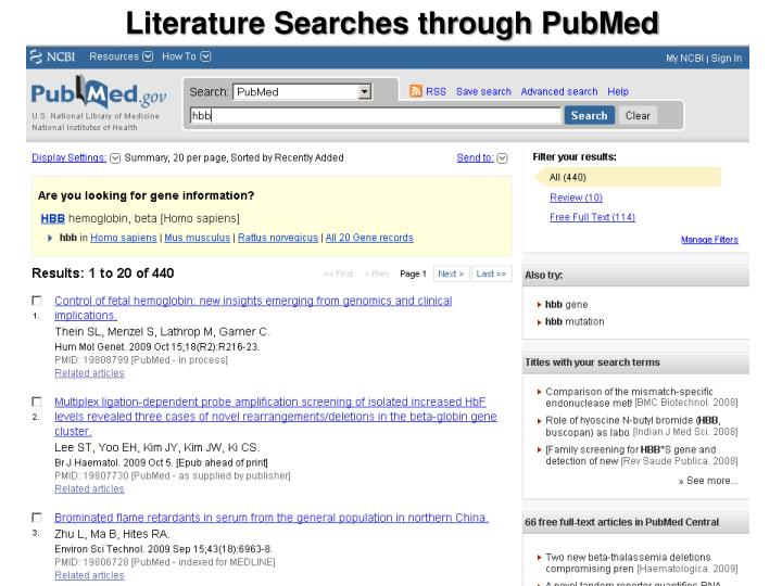 Literature Searches through PubMed