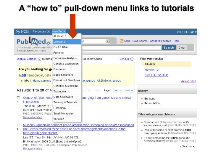 "A ""how to"" pull-down menu links to tutorials"