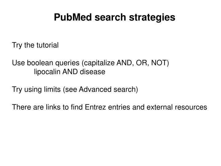 PubMed search strategies