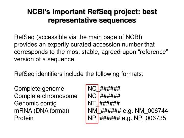 NCBI's important