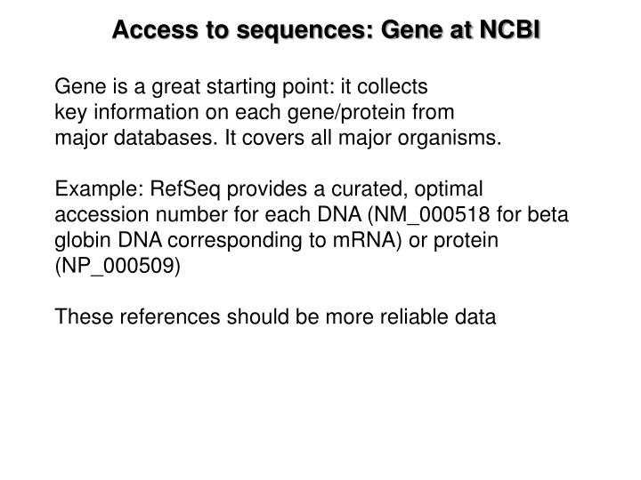 Access to sequences: Gene at NCBI