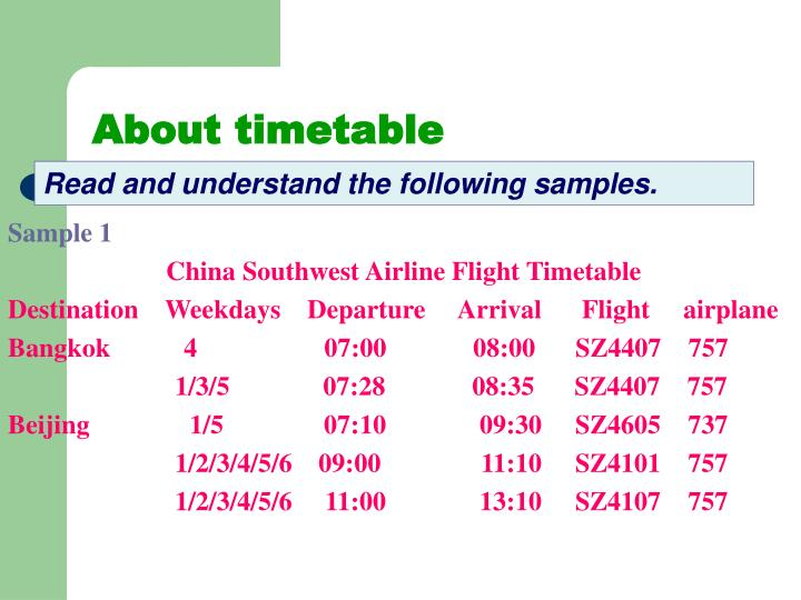 About timetable