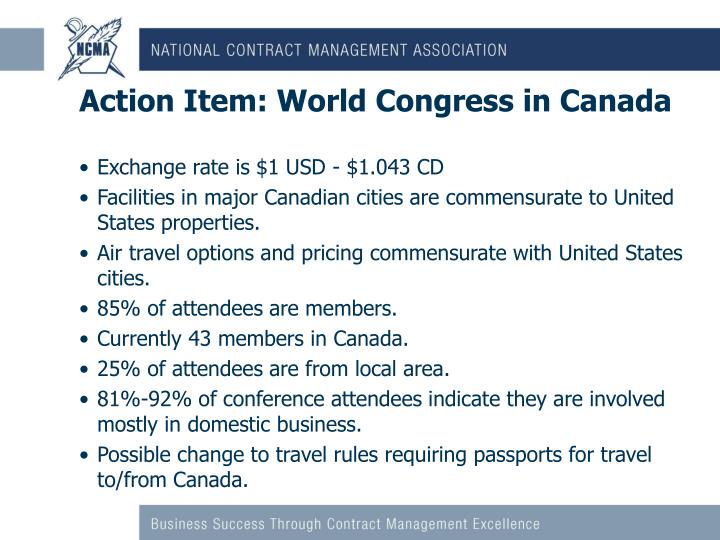 Action Item: World Congress in Canada