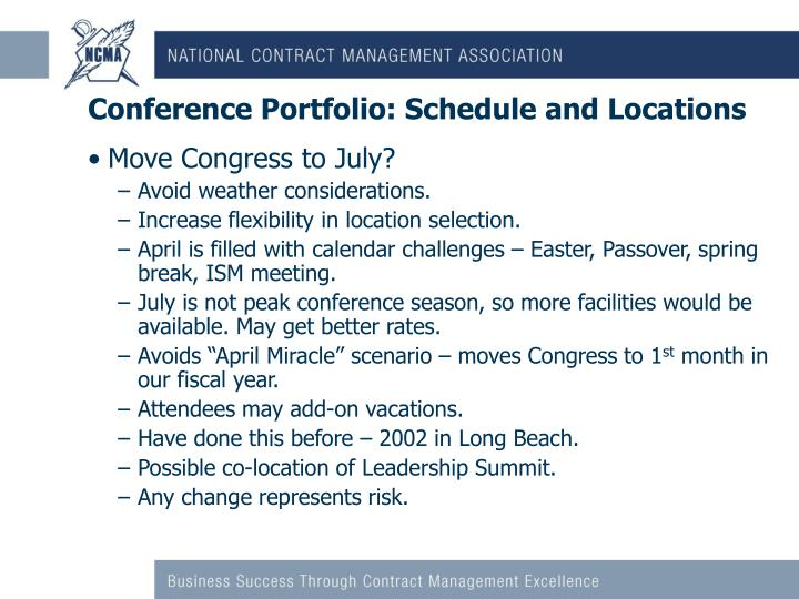 Conference Portfolio: Schedule and Locations