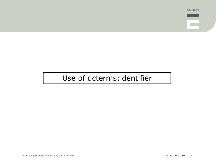 Use of dcterms:identifier