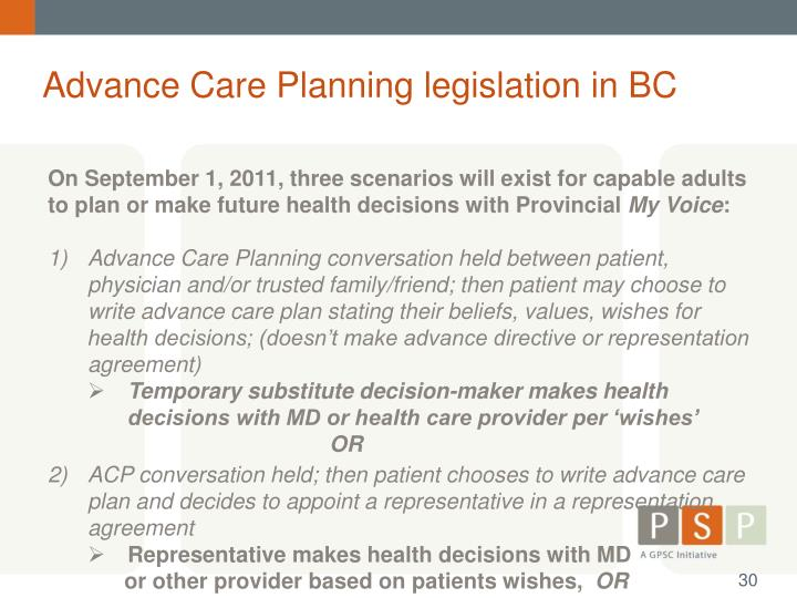 Advance Care Planning legislation in BC
