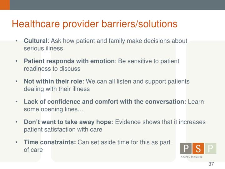 Healthcare provider barriers/solutions