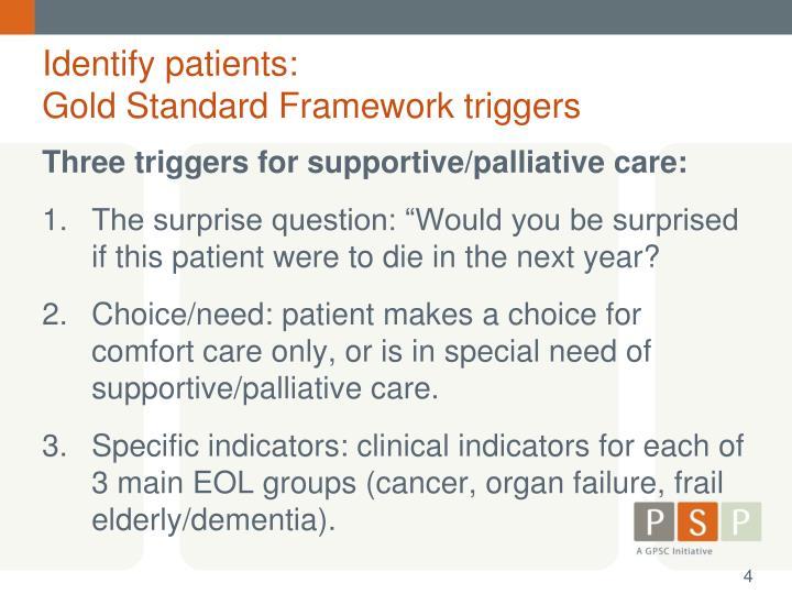 Identify patients: